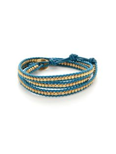 Leather & Gold Indian Bead Wrap Bracelet by Chan Luu on Gilt.com