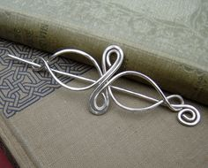 Sterling Silver Celtic Shawl Pin, Hair Pin, Scarf Pin - Celtic Infinity Loops - Long Hair Accessories -Silver Pin - Barrette - Hair Slide