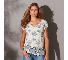 Macramé tričko | blancheporte.cz #blancheporte #blancheporteCZ #blancheporte_cz #letnikolekce #leto #oblibene Floral Tops, T Shirt, Tees, Products, Fashion, Round Collar, Woman Clothing, Cotton, Human Height