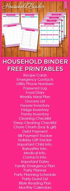 Household Binder Free Printables Pages} – Finance tips, saving money, budgeting planner Household Organization, Binder Organization, College Organization, Printable Planner, Free Printables, Printable Calendars, Freebies Printable, Deep Cleaning Checklist, Cleaning Routines