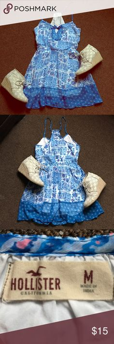 Hollister Spring Halter Mini Dress Hollister Blue Floral Halter Mini Dress! One of my personal favorites from my closet, this dress has been pre-loved and well taken care of. Very elegant and soft! Perfect for any warm spring day. Please comment for q&a! Offers considered! Hollister Dresses Mini