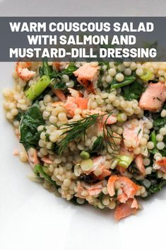 Warm Couscous Salad With Salmon and Mustard-Dill Dressing Recipe - Warm Couscous Salad With Salmon and Mustard-Dill Dressing Pearl Couscous Recipes, Pearl Couscous Salad, Couscous Salad Recipes, Dill Recipes, Salmon Recipes, Seafood Recipes, Cooking Recipes, Healthy Recipes, Kitchens