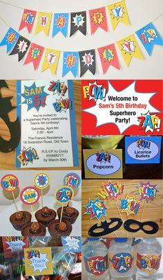 Superhero Birthday Full Printable Customized Party Collection