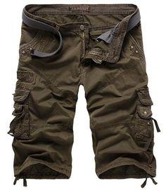 men's casual shorts multi pocket camouflage male cargo Shorts leg open man short Bottoms