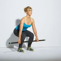Alison Sweeney  Deadlift Works: Core, butt, and legs Stand holding dumbbells or a light bar with your feet shoulder-width apart, hands slightly wider than your hips and palms facing your body. Keep a straight lower back as you bend your knees, lowering the bar toward to the floor. Rise up to starting position.