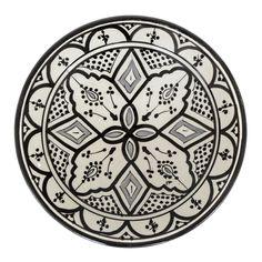 Ceramic plate, black-and-white, 26cm