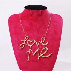 $2.92 Fashion Rhinestoned Love-Me Pendant Necklace For Women