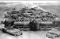 The bomb load of 20 Lancasters in one stack