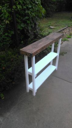 Tall Skinny Primitive Dark Walnut Stained Country White Painted SOFA Hall Console Table W/Added Center Shelf Custom Sizes Colors Skinny Tables, Long Skinny Table, Hall Console Table, Skinny Console Table, Do It Yourself Design, Ideas Hogar, Dark Walnut Stain, Wood Display, Sofa Tables