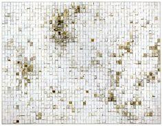 "Witness, 1996-1999 / Discarded white-generic matchbooks on linen / 68"" x 88"""