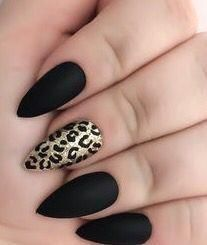 Black almond nails with an accent gold leopard - Nails - . - Black almond nails with an accent gold leopard – Nails – gold lopa… – - Black Almond Nails, Matte Black Nails, Almond Acrylic Nails, Gold Nails, Stiletto Nails, Accent Nails, Acryl Nails, Gel Nagel Design, Leopard Nails