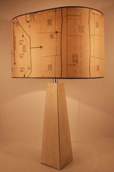 LARGE 1950's Sewing Pattern lamp shade. Upcycled Repurposed Vintage Industrial Chic. $130.00, via Etsy.