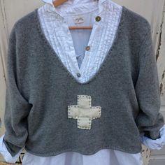 Gris pull taille en laine femme l