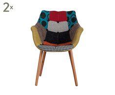 Net besteld!  Set van 2 stoelen Eleven Patchwork, multicolour, H 79 cm