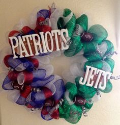 Sports Theme Wreath  A house divided New England by mahyahyvee, $70.00