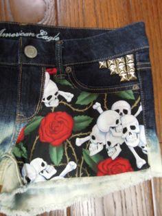Womens American Eagle Skulls / Roses Studded Cut Off Shorts Size 4 | eBay