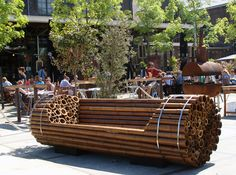 Such a great idea...a seat out of a bunch of bamboo