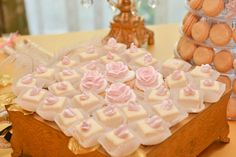 Marie Antoinette bridal shower. White and pink floral petit fours. A Magic Moment Photography.