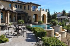 One of the local pools we've worked on here in Northern California's Bay Area -- loving the dual levels! Swimming Pool Repair, Swimming Pools, Aqua Pools, Northern California, Bay Area, The Locals, Patio, Mansions, House Styles