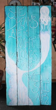 Reserved for KAT Mermaid Sign Hand Painted by tawnystreasures
