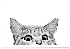 Sneaky Cat als Poster in kunststof lijst door Laura Graves Sneaky Cat, Cat Posters, Affordable Wall Art, Art Mural, Cat Drawing, Cat Art, Framed Art Prints, Illustrator, Illustration Art