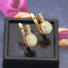 Beautiful Cute Simple Round Wholesale Jewelry Yellow Fire Opal 925 stamp Earrings