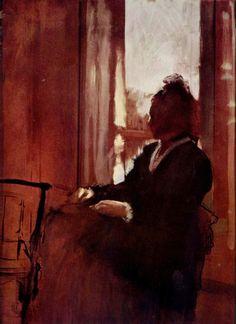 Edgar Germain Hilaire Degas. Frau am Fenster. 1875-1878, Öl auf Karton, 62 × 46 cm. London, Courtauld Institute Galleries. Frankreich. Impressionismus. KO 01284