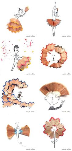 Graphic designer Marta Altes creates creative artworks from reused pencil shavings. Marta Altes was originally trained in Barcelona before moving to England to pursue her MA in Children's Book Illustration from the Cambridge School of Art. Her playful, simple pieces burst with child-like creativit…