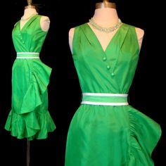 Vintage 60s Sculptural Green Ruffle Dress Mollie by labellevintage, $95.00