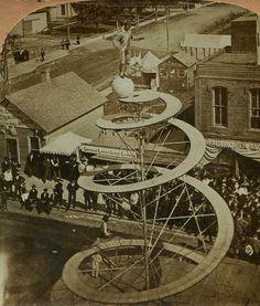 Circus acrobat on a ball ~ top a spiral tower MITCHELL SOUTH DAKOTA 1800s