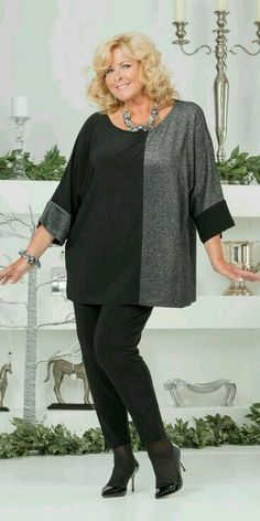 Kasbah silver/black silky jersey/lurex oversize top and trouser Plus Size Fashion For Women, Plus Size Women, Looks Plus Size, Moda Plus Size, Fashion Over 50, Mode Inspiration, Refashion, Women's Fashion Dresses, Plus Size Outfits