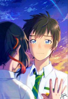 Taki e Mitsuha Kimi no Na wa 19 Anime Chibi, Anime Kawaii, Manga Anime, Anime Couple Love, Couple Manga, Cute Anime Couples, Mitsuha And Taki, Studio Ghibli Films, Kimi No Na Wa Wallpaper