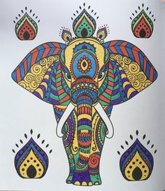 Done With Kaiser Colour Gel Pens Henna Mehndi Design Coloring Book Elephant
