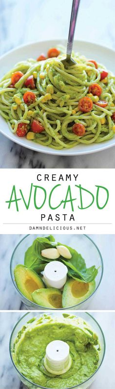 Pasta Avocado Pasta - The easiest, most unbelievably creamy avocado pasta. And it'll be on your dinner table in just 20 min!Avocado Pasta - The easiest, most unbelievably creamy avocado pasta. And it'll be on your dinner table in just 20 min! Avocado Recipes, Veggie Recipes, Whole Food Recipes, Vegetarian Recipes, Cooking Recipes, Healthy Recipes, Healthy Food, Healthy Meals, Avocado Dishes