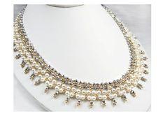 Bridal Statement Necklace, White Swarovski Pearl, Metallic Gold and Silver Crystal Beadweaving Picot Necklace- Catherine WN0123 - TheWeddingMile.com
