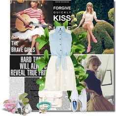 Taylor Swift by bluejess on Polyvore featuring moda, Influence, American Eagle Outfitters, The Leather Satchel Co., sweet deluxe, Keds, white, Blue and kedsstyle