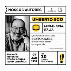 """Umberto Eco é semiólogo, professor e escritor. Entre suas obras ensaísticas destacam-se: """"Kant e o ornitorrinco"""" (1997) e """"Sobre a literatura"""" (2002). Em 1980 estreou na ficção com """"O nome da rosa"""" (Prêmio Strega 1981), seguido por """"O pêndulo de Foucault"""" (1988); """"A ilha do dia anterior"""" (1994); """"Baudolino"""" (2000) e """"A misteriosa chama da rainha Loana"""" (2004).   O novo best-seller internacional de Umberto Eco, """"Número Zero"""", é um verdadeiro manual do mau jornalismo e dos tempos atuais."""