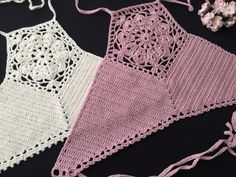Crochet Halter Tops, Motif Bikini Crochet, Top Crop Tejido En Crochet, Cotton Crochet, Crochet Top, Crochet Cable, Crochet Summer, Mode Du Bikini, Haut Bikini