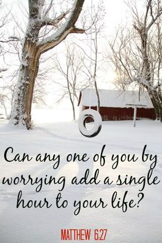 "Trust in the Lord~ ""Can any one of you by worrying add a single hour to your life? Faith spiritual inspiration [with image of a snowy country scene including a snow covered tire swing] Scripture Quotes, Bible Scriptures, Looks Dark, Jesus Is Lord, Religious Quotes, God Is Good, Word Of God, Holy Spirit, Christian Quotes"