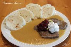 Svíčková omáčka s knedlíkem Mashed Potatoes, French Toast, Food And Drink, Pudding, Beef, Dinner, Cooking, Breakfast, Ethnic Recipes