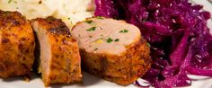 Garlic-Stuffed Roasted Pork Tenderloin (with braised red cabbage & mashed red skin potatoes)