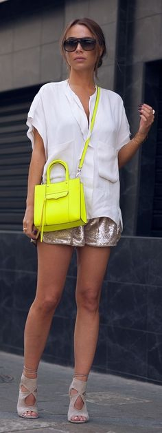 White Shirt + Sparkly Shorts + Pop Of Neon