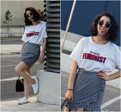 Get this look: http://lb.nu/look/8778843 More looks by Theoni Argyropoulou: http://lb.nu/theoni_argp Items in this look: Pull & Bear Sunglasses, Stradivarius Logo T Shirt, Gingham Skirt, H&M White Sneakers, Zara Shoulder Bag #casual #sporty #street #gingham #skirt #miniskirt #look #lotd #outfit