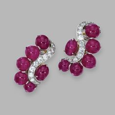 Pair of 18 Karat Gold, Platinum, Ruby and Diamond Earclips, Aletto Brothers.
