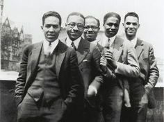 'Vintage Black Glamour' Exposes Little-Known Cultural History - Langston Hughes, Charles S. Johnson, E. Franklin Frazier, Rudolph Fisher and Hubert Delany (brother of the Delany Sisters) overlooking St. Nicholas Avenue in Harlem in the 1920s.
