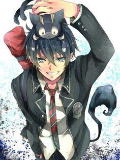 Okumura Rin and Kuro. Blue Exorcist / Ao no Exorcist. Ao No Exorcist, Blue Exorcist Anime, Blue Exorcist Cosplay, Boys Anime, Hot Anime Guys, Anime Love, Rin Okumura, Manga Art, Anime Art