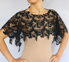 Check out our black lace shrug selection for the very best in unique or custom, handmade pieces from our women's clothing shops. Dyi Couture, Lace Shrug, Lace Bra, Lace Tape, Black Lace Fabric, Lace Top Dress, Bridal Shrug, Stylish Clothes For Women, Capes