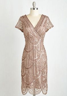 Cascading Cava Dress in Taupe - Solid, Sequins, Special Occasion, Party, 20s, Sheath, Short Sleeves, Woven, Best, Mixed Media, Tan, Scallops, Holiday Party, Vintage Inspired, Variation, V Neck