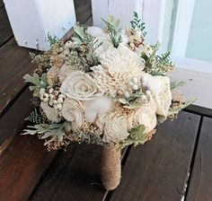 Alternative Wedding Bouquet - Luxe Collection Medium Ivory Dusty Miller Raw Cotton Keepsake Bouquet, Sola Bouquet, Rustic Wedding