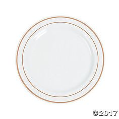 Present your event dinners on these durable plastic plates. The perfect addition to your event supplies, each dinner plate features an eye-catching rose gold ...